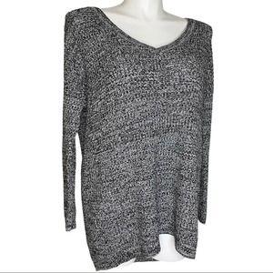 TORRID Black & White Marl V-neck Pullover Sweater